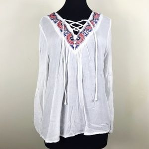 White Boho Peasant Lace Up Top Blouse